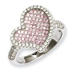 .925 Sterling Silver Pink Clear CZ Heart Ring Silver Jewelry Available Exclusively at Gemologica.com