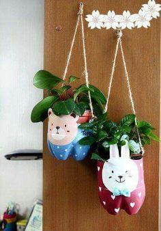 Decorative plastic hanging plant-holder