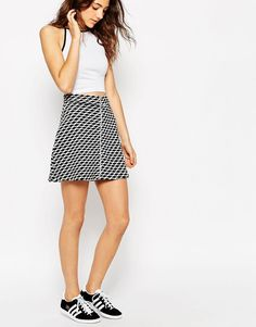 Image 4 of ASOS A-Line Skirt In Mono Jacquard