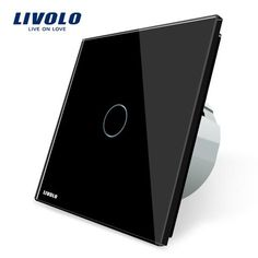Free Shipping, Livolo  Touch Switch, VL-C701-12, Black Crystal Glass Switch Panel, Wall Light Touch Screen Switch