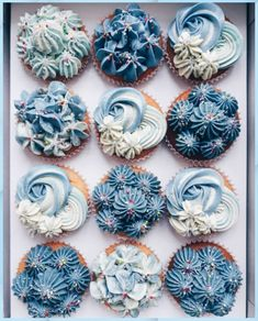 Floral Cupcakes, Yummy Cupcakes, Cupcake Cookies, Cupcake Cupcake, Cupcake Piping, Buttercream Cupcakes, Frosting, Crazy Cakes, Cupcake Cake Designs