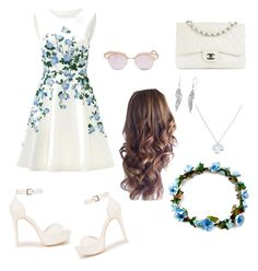 """Bell"" by goleatatiana ❤ liked on Polyvore featuring ERIN Erin Fetherston, Nly Shoes, Chanel, Le Specs and Wolf & Moon"