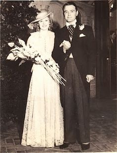 Actress Ginger Rogers and Actor Lew Ayres were married on November 14, 1934, in Glendale at the Little Church of the Flowers.  Ginger wore a gown of pale green Chantilly lace with matching hat. They divorced in 1941.