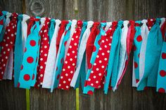 Candy Apple Red &  Turquoise Polka Dot Rag Tie Garland by jpurifoy, $25.00