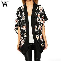Womail Fashion Womens jacket Irregular inverno Floral Printed Kimono Cardigans Chiffon Long Sleeve Camouflage Sweater #30 #Affiliate
