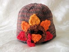 Hand Knitted Thanksgiving Turkey Baby Hat  Knitted by Cotton Pickings