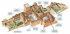 Plano Alhambra by Maria Revival Architecture, Islamic Architecture, Golden Ratio In Design, Moorish Revival, Architecture Presentation Board, Grenade, Fantasy Map, Spain And Portugal, Amsterdam