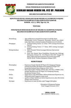 PEMERINTAH KABUPATEN KAMPAR DINAS PENDIDIKAN DAN KEBUDAYAAN SEKOLAH DASAR NEGERI NO. 012 KP. PANJANG KECAMATAN KAMPAR UTAR...