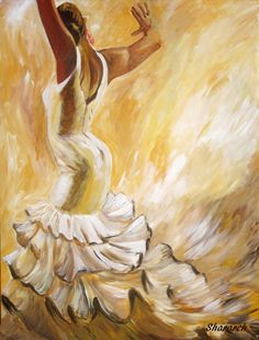 Flamenco dancer painting, Back of a flamenco dancer in white ruffled dress,Limited edition giclee dance painting with neutral background