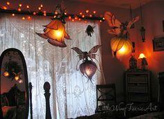 Little Wing Faerie Art — Silk butterfly and moth hanging lights. Butterfly Lamp, Flower Lamp, Butterflies, Mood Light, Light Art, Giant Paper Flowers, Silk Flowers, Hanging Lights, Fairy Lights
