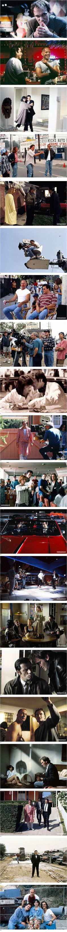 Quentin Tarantino on the set of Pulp Fiction.