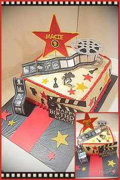 Hollywood themed birthday cake by Jen Kwasniak