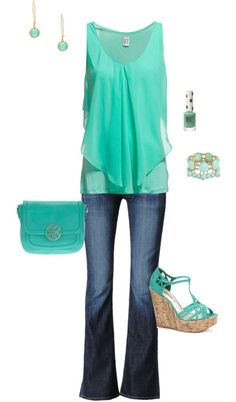 shades of mint for summer.  Really love this top. Not the jeans. But the top is adorable!