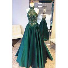 Halter prom dress, teal green prom dress, elegant