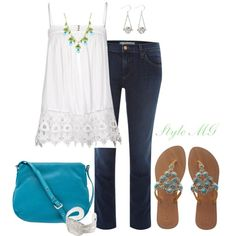 Summer white and turquoise, created by romigr99 on Polyvore