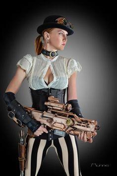Two Gun Steampunk Lady Brings out her Rifle Steampunk Couture, Arte Steampunk, Steampunk Weapons, Steampunk Cosplay, Gothic Steampunk, Steampunk Clothing, Steampunk Fashion, Victorian Gothic, Gothic Lolita