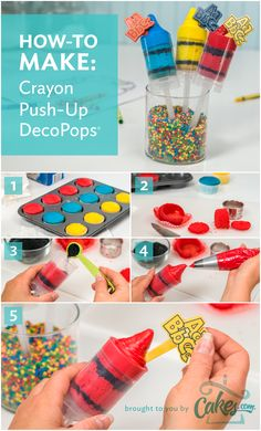 How to make Crayon Push-up DecoPops in time for a new school year. Cake Push Pops, Push Up Pops, School Cake, School Treats, Crayon Birthday Parties, Making Crayons, Cupcake Cakes, Cupcakes, Party Themes