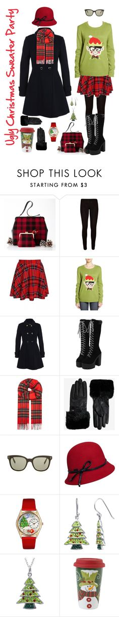 """""""Ugly Sweater Party!"""" by briaryzombie ❤ liked on Polyvore featuring Love By Design, Miss Selfridge, Johnstons, Ted Baker, Victoria Beckham, Betmar, Whimsical Watches and Fitz and Floyd"""