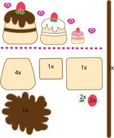 Cupcake pattern by on DeviantArt Felt Food Patterns, Craft Patterns, Stuffed Toys Patterns, Felt Diy, Felt Crafts, Felt Cake Pattern, Felt Cupcakes, Felt Keychain, Felt Play Food