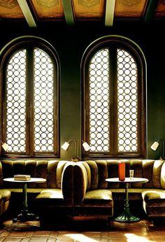 Velvet dining booths at the Palihouse Santa Monica
