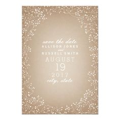 Spring Wedding Save the Date Cards Baby's Breath Cardstock Inspired Save The Date Card