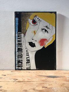 Oeuvre graphique de style art brut.  Dessinée et estampée numériquement. Marouflée sur plaque de masonite avec interventions d'acrylique de la boutique tetedecaboche1965 sur Etsy