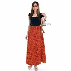 Indian Ethnic Maroon and Black Hand Block Print Cotton Wrap Around Long Skirt