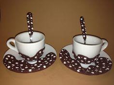 Il meraviglioso mondo del Fimo... e altro ancora!: Tazzine da caffè con decoro Pan di Stelle in Fimo