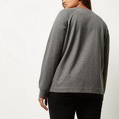 RI Plus grey sequin dinosaur sweatshirt - hoodies / sweatshirts - t shirts…