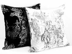 Black White throw pillow set – 20x20 pillow cover – Toile de jouy French woven jacquard pillow shams – Victorian Sofa bedroom cushion cover