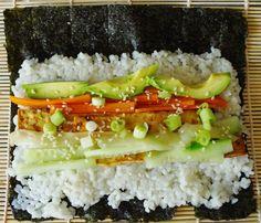 Vegan Nori Rolls with sticky rice, baked tofu, veg, pickled ginger and teriyaki sauce