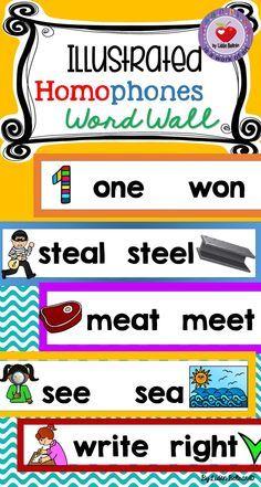 Homophones word wall (illustrated)