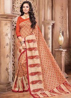 Latest Designer Orange Colored Daily Wear Sari 22633 Pure Silk Printed Casual Saree With Border Work