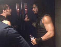 "stellarollins: "" ""My eye okay?"" Dean looks so cute checking Roman's eye ♥︎ """