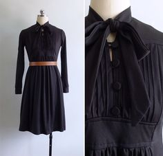 Vintage 70's Black Pintuck Bib Pussy Bow Dress S or M by fivestonesvintage on Etsy https://www.etsy.com/listing/275260184/vintage-70s-black-pintuck-bib-pussy-bow