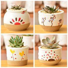 South Korea desktop creative flower pot zakka ceramic bonsai pot of the h . Painted Plant Pots, Painted Flower Pots, Cactus Plante, Pot Plante, Flower Pot Crafts, Clay Pot Crafts, Pottery Painting, Diy Painting, Decorated Flower Pots