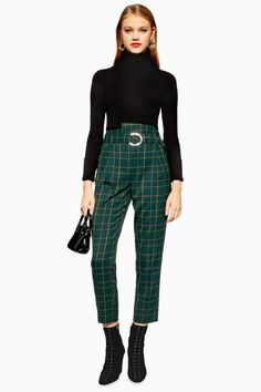 These punk check trousers with hardware ring fastening at front have autumn winter written all over them. For a fashionista appeal add a black roll neck top. Trouser Outfits, Trouser Pants, Trousers Women, Cold Weather Outfits, Winter Outfits, Checked Trousers Outfit, Topshop Tall, Roll Neck Top, Punk Outfits