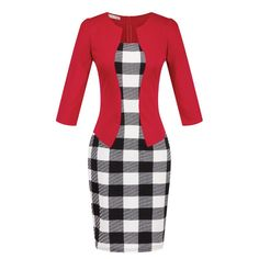 New Fashion Women Faux Two Piece Dress Elegant Plaid Long Sleeve Pencil Dresses Office Wear Women Work Outfits With Belt