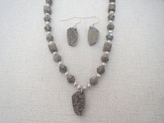 Gray Marbled Ivory Swarovski Necklace Pendant by jazzybeads