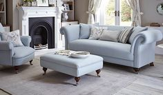 Bring luxury adn comfort to your living room with the finely designed Arlean fabric sofa from Woodenstreet.The sky blue colour of the couch gives it an charming and elegant appeal.  #couch #furniture #fabric #sofa #India
