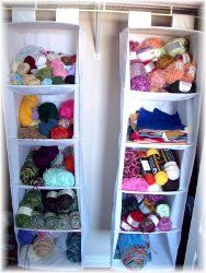 Craft room organization - Use closet hangers for yarn storage Yarn Storage, Craft Room Storage, Fabric Storage, Storage Ideas, Towel Storage, Fabric Boxes, Fabric Basket, Closet Hangers, Yarn Organization