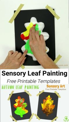 Mess Free Sensory Autumn Leaf Painting - Watch leaves change colour in front of your eyes, explore colour mixing and engage the senses! (Free Leaf Templates) Fall Crafts For Kids, Thanksgiving Crafts, Kids Crafts, Art For Kids, Craft Projects, Kids Diy, Garden Projects, Decor Crafts, Leaf Crafts