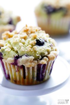 Blueberry Avocado Muffins - Gimme Some Oven; muffins stick to the paper though; Avocado Muffins, Avocado Breakfast, Breakfast Muffins, Mini Muffins, Fried Egg Recipes, Cooking Recipes, Gimme Some Oven, Corn Cakes, Avocado Recipes