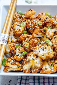Sweet and Spicy Baked Cauliflower - This easy vegetarian cauliflower recipe is full of flavor and the perfect combination of sweet and spicy. Makes an amazing appetizer recipe or a side dish option. These baked cauliflowers will soon be your go-to recipe. Vegetarian Cauliflower Recipes, Spicy Cauliflower, Vegetarian Recipes Easy, Healthy Dinner Recipes, Paleo Food, Easy Healthy Vegetarian Recipes, Cauliflower Side Dish, Cauliflower Wings, Best Recipe For Cauliflower