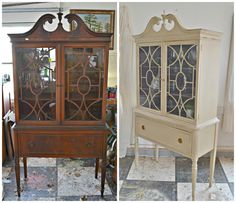 Heir and Space: A Mahogany China Hutch in Cream an Amethyst