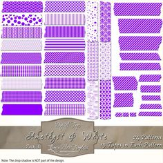 360 pieces of purple & white Digital Tape (24 patterns in 15 different sizes) Files are PNG with a transparent background.  The tapes are great for blogging, scrapbooks, cards, invitations, and more... $4.75 #digital, #tape, #washi, #patterns, #chevron, #checks, #stripes, #polka dots, #damask, #Moroccan, #argyle, #purple, #white, #scrapbooking, #cards