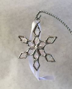Stained Glass Snowflake Ornament by TwoBlueDingoesArt on Etsy