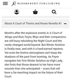 SYNOPSIS OF THE ACOTAR NOVELLA IS OUT