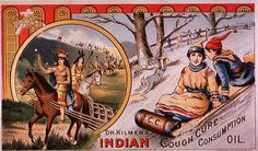 A chromolithograph showing Indians on horseback and people sledding. On the bottom right corner is black lettering is Dr. Kilmer's Indian Cough Cure Consumption Oil.