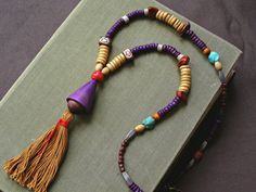 Bohe Mix beads Tassel long Necklace, Natural coconut, Wood, Gemstone Beadwork Necklace, stacking color block Trendy Jewelry